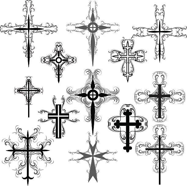 decorative crosses - celtic tattoos stock illustrations, clip art, cartoons, & icons