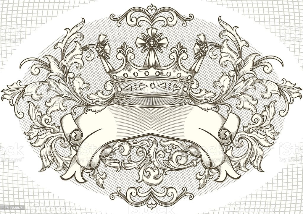 Decorative crown vector art illustration
