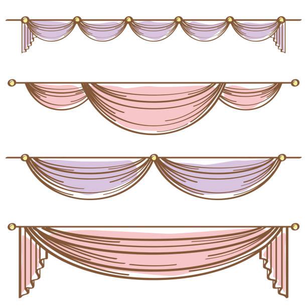 illustrazioni stock, clip art, cartoni animati e icone di tendenza di decorative curtain - sipario