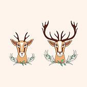 Decorative deer graphic hand drawn vector cartoon doodle illustr