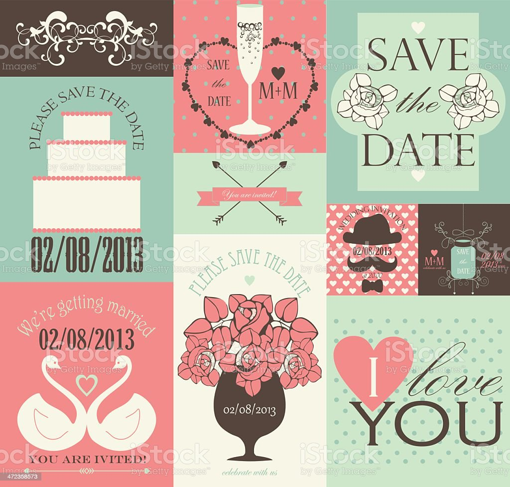 Decorative design elements for wedding card or invitation. royalty-free stock vector art