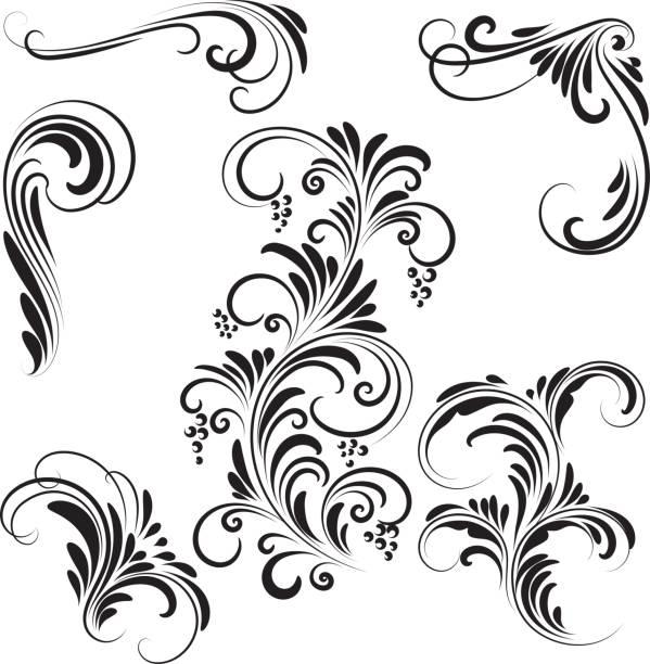 Decorative design elements Decorative design elements flowers tattoos stock illustrations
