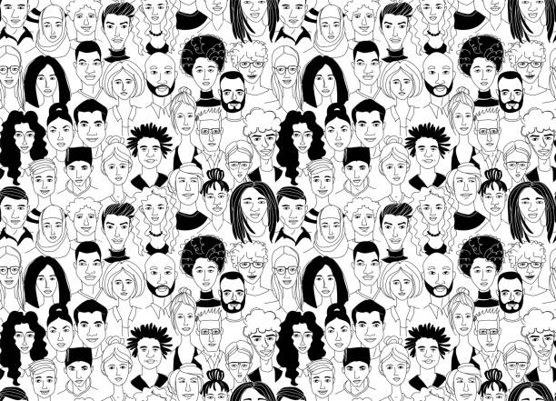 Decorative diverse women's men's head seamless pattern background. Multiethnic gruop Decorative diverse women's men's head seamless pattern background. Multiethnic team gruop crowd community. Hand drawn grunge line drawing doodle black and white vector illustration poster community drawings stock illustrations