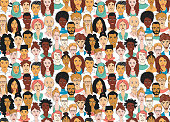 Decorative diverse women's men's head seamless pattern background. Multiethnic team gruop crowd community. Hand drawn grunge line drawing doodle black and white vector illustration poster