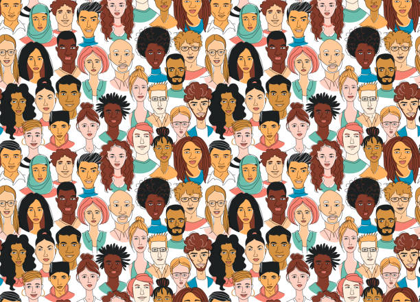 decorative diverse women's men's head seamless pattern background. multiethnic gruop - diversity stock illustrations