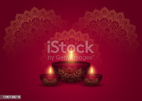 istock Decorative Diwali background in gold and red 1280136216
