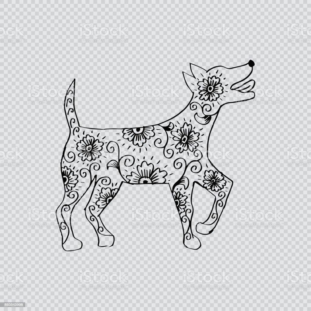 Decorative dog. Chinese Zodiac Sign vector art illustration