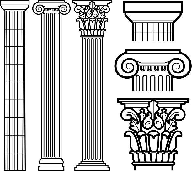 장식용 도리스 양식, 이온 및 커린씨언 기존 컬럼 - 기둥 stock illustrations