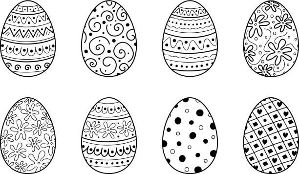 장식 부활절 달걀-컬렉션입니다. 벡터 - 부활절 달걀 stock illustrations