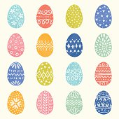 Vector Easter set with decorative eggs.
