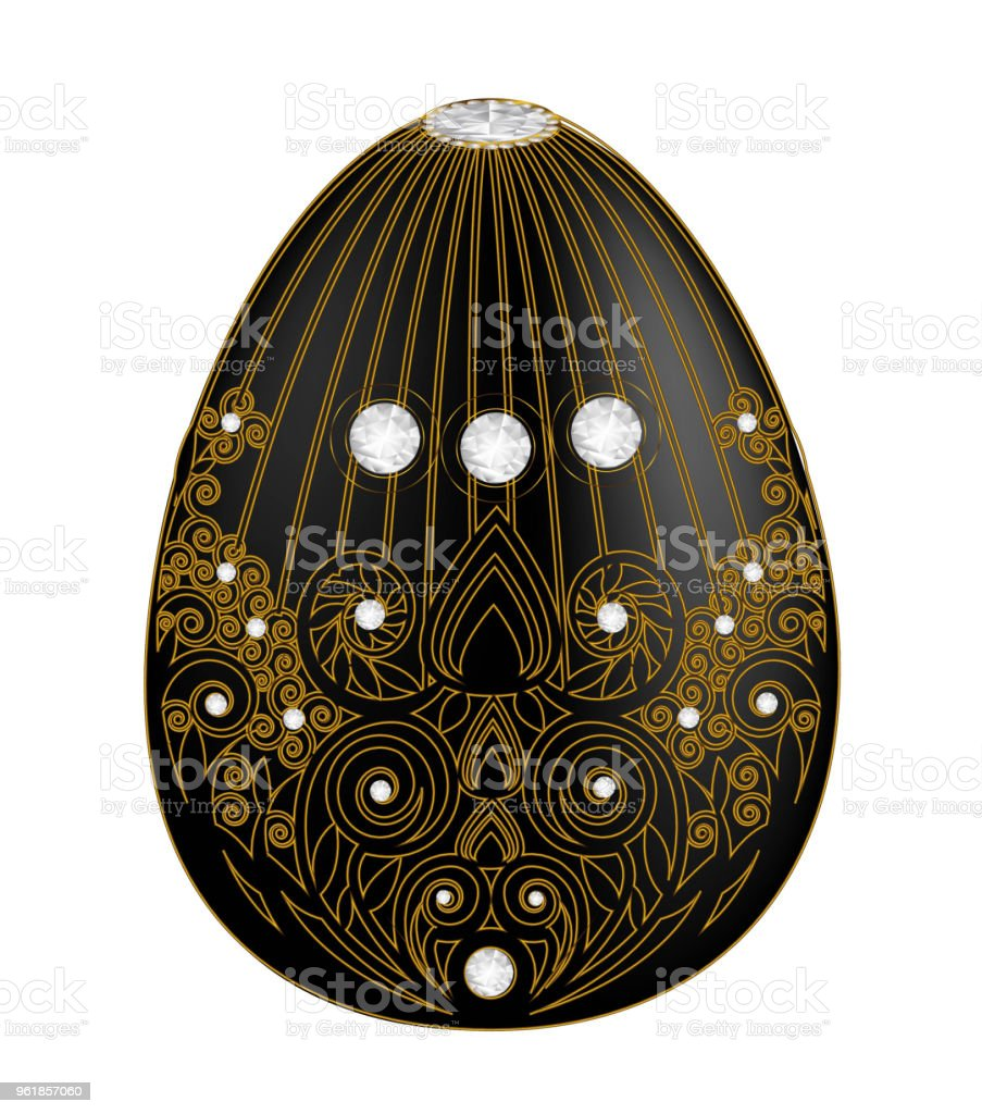 Decorative egg black o with abstract  motifs in contour style isolated on white background. vector art illustration