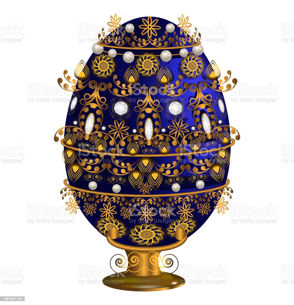 Decorative egg blue on the stand with floral motifs in contour style isolated on white background. vector art illustration