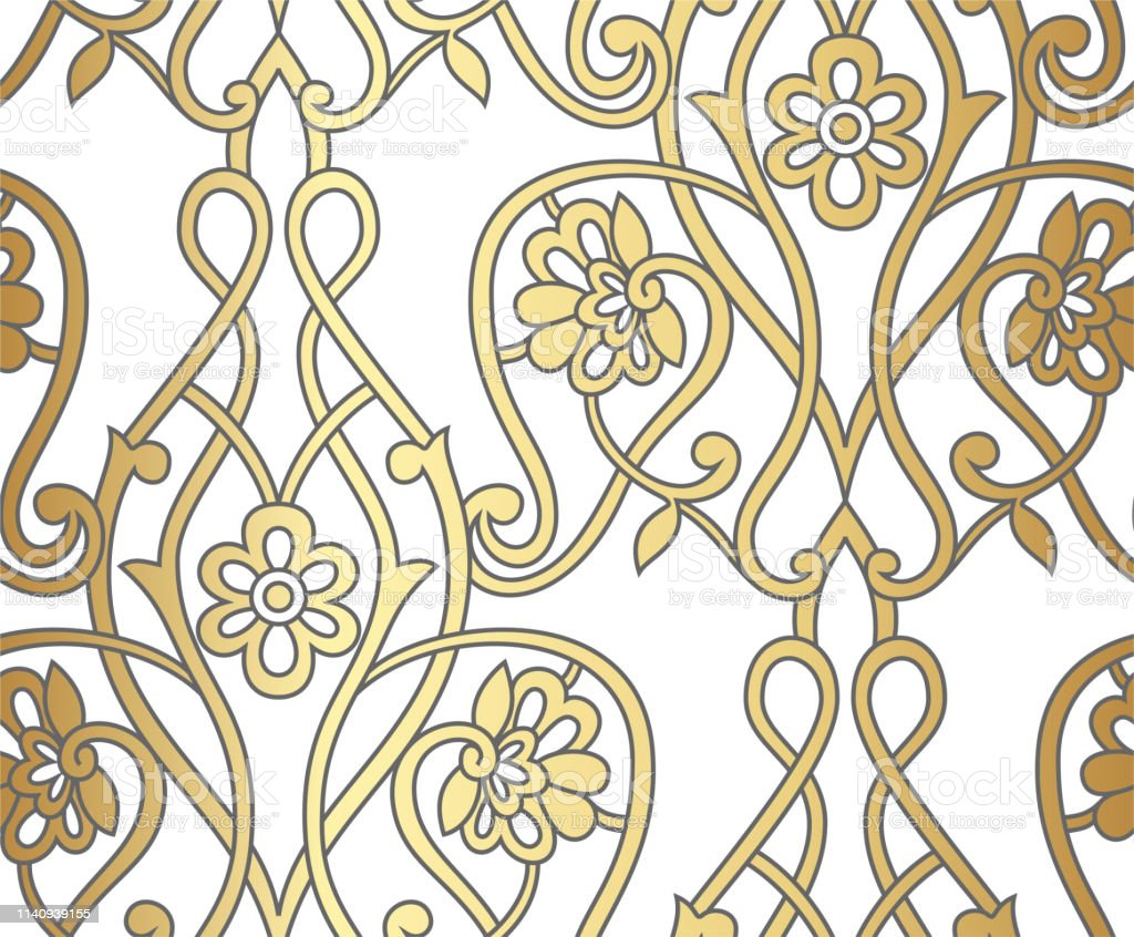 Decorative Elegant Floral Wallpaper Seamless Vector Gold Stroked