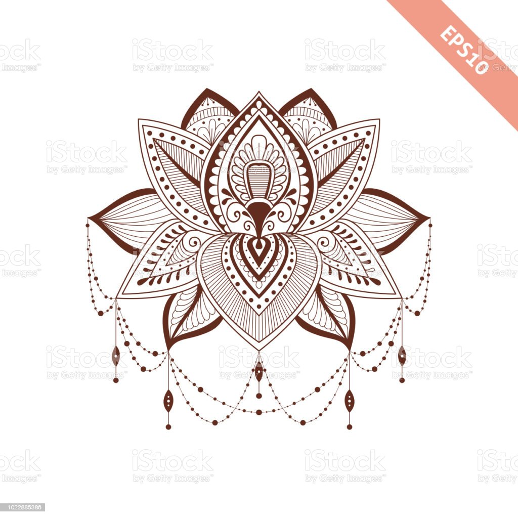 Decorative Element Henna Style Flower For Your Design Tattoo Stock