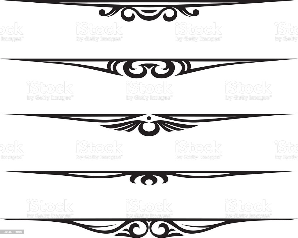 Single Line Vector Art : Decorative elements border and page rules stock vector art