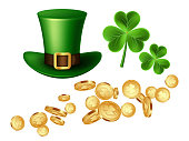 Falling 3d three-leaf clover golden coins, green leprechaun hat and clover leaves. Decorative elements for Saint Patrick's day. Isolated on white background. Vector illustration.
