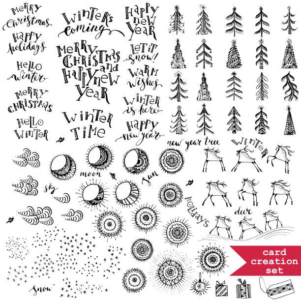 bildbanksillustrationer, clip art samt tecknat material och ikoner med dekorativa element för vinter hälsningar med bokstäver, julgranar, prydnads solen, månen, snö, rådjur i svart färg. - älg sverige