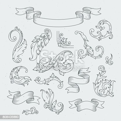 istock Decorative elements in baroque style. Victorian ornament, acanthus leaves 808405880