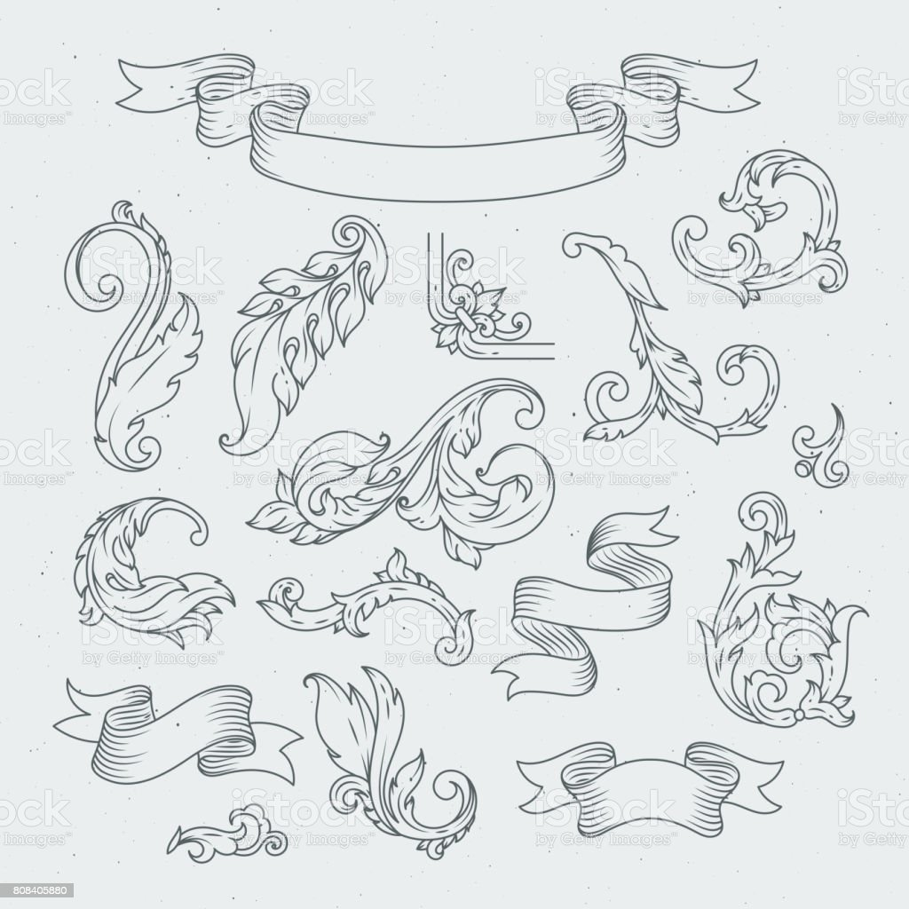 Decorative elements in baroque style. Victorian ornament, acanthus leaves vector art illustration