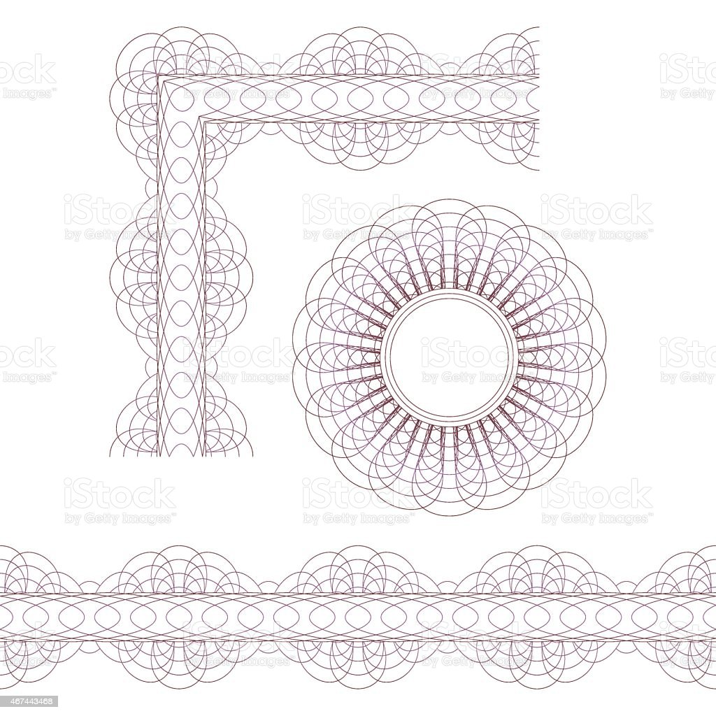 Decorative elements. Rosette, border and corner vector art illustration