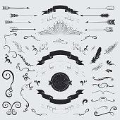 Decorative elements set: arrows, laurel, feathers, ribbons and labels