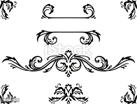 Vector ornamental elements. Suggested uses: titling frame and corner details.