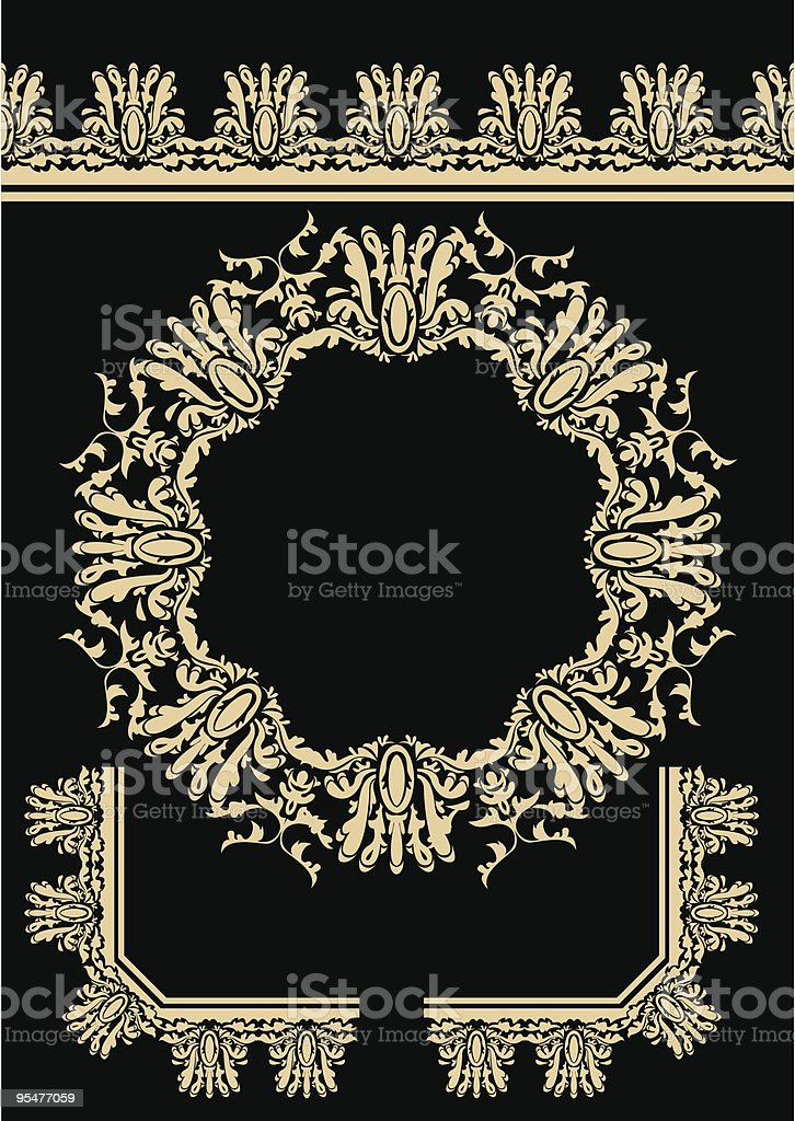 Decorative elements (rosette, frieze , corners) royalty-free stock vector art