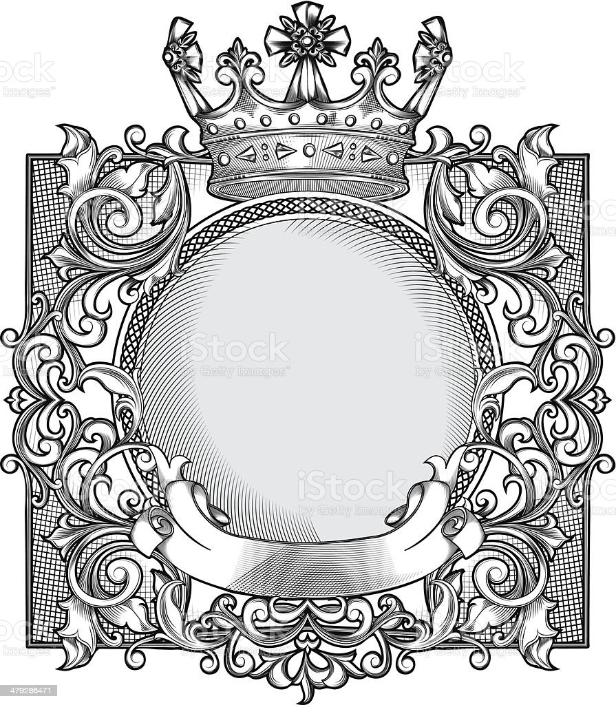Decorative emblem vector art illustration