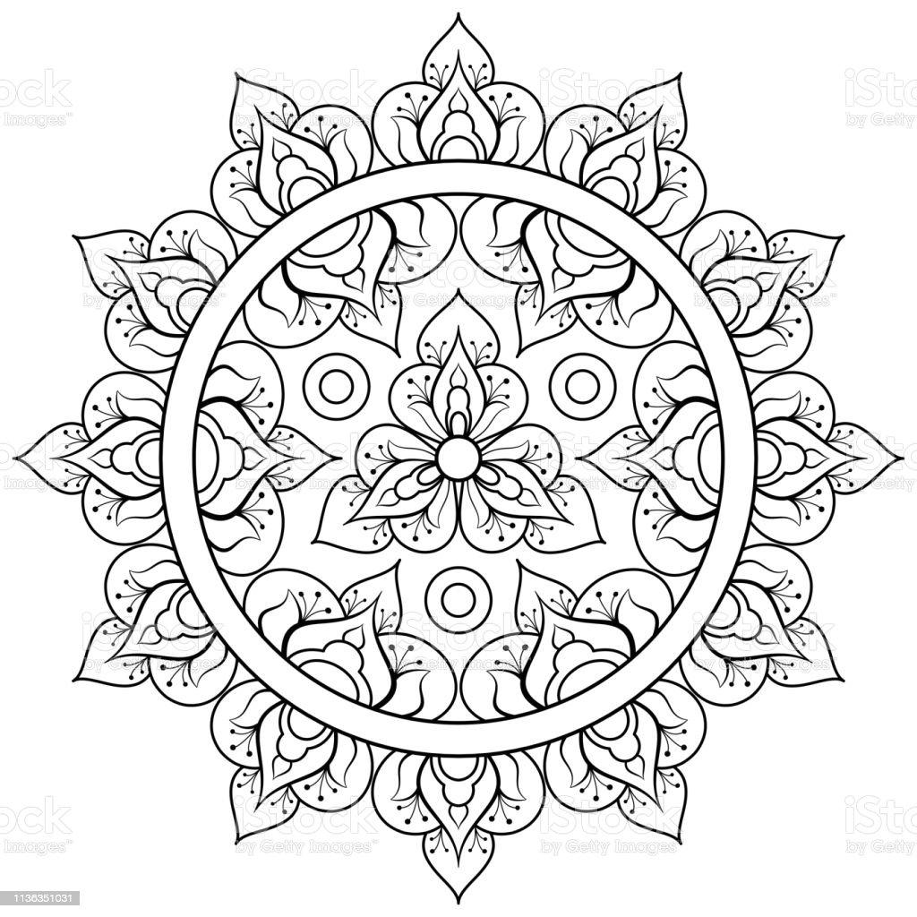 Dekoratif Etnik Mandala Deseni Yetiskinler Icin Antistres Boyama