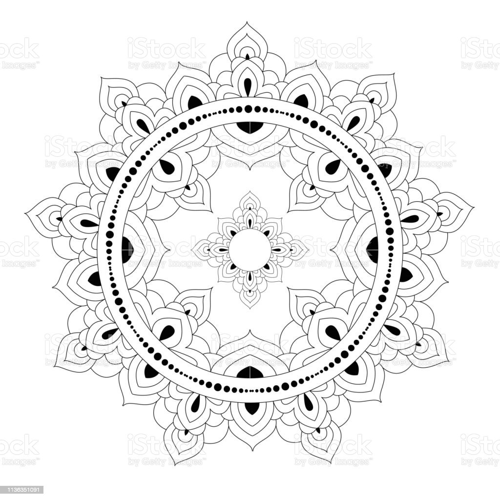 Decorative Ethnic Mandala Pattern Antistress Coloring Book Page