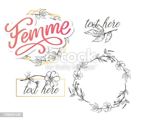 istock decorative femme text lettering calligraphy flowers brush slogan 1299091061