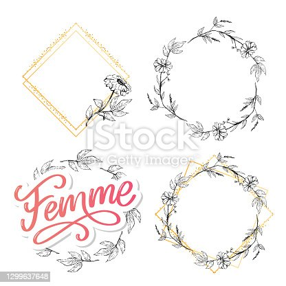 istock decorative femme text lettering calligraphy flowers brush slogan 1299637648