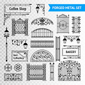 decorative fences forged metal element transperent set