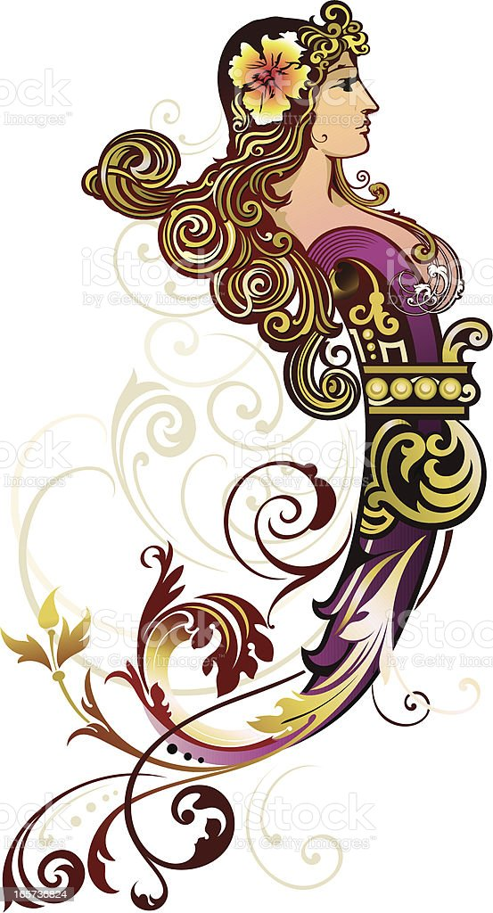 Decorative Figurehead vector art illustration