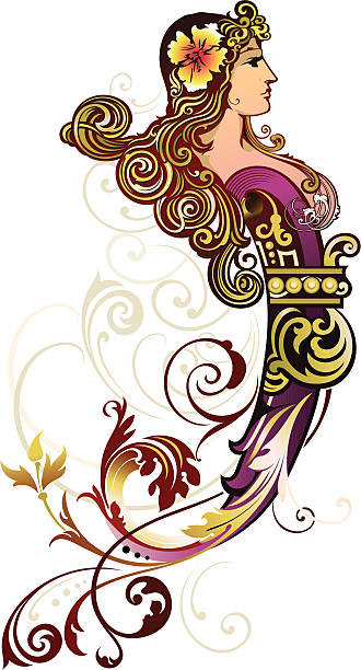 Decorative Figurehead vector art illustration