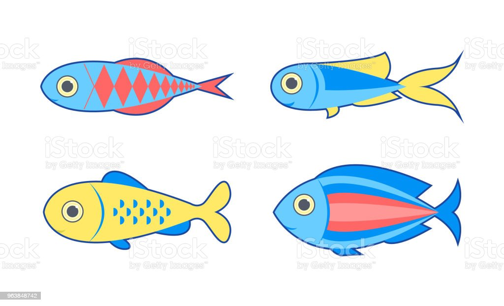 Decorative fish set. Isolated on white background. Vector illustration. - Royalty-free Animal stock vector