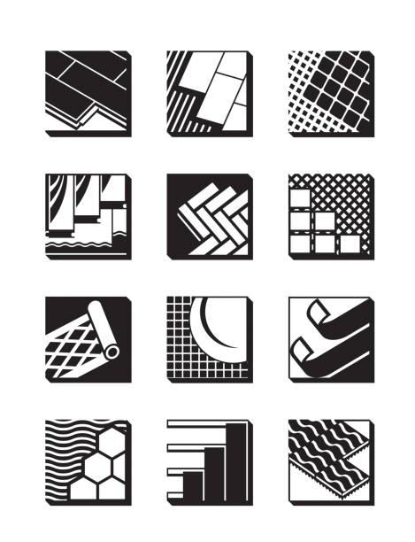 dekorative bodenbelag-icon-set - granitplatten stock-grafiken, -clipart, -cartoons und -symbole
