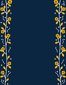 Decorative floral border with orange leaves and flowers