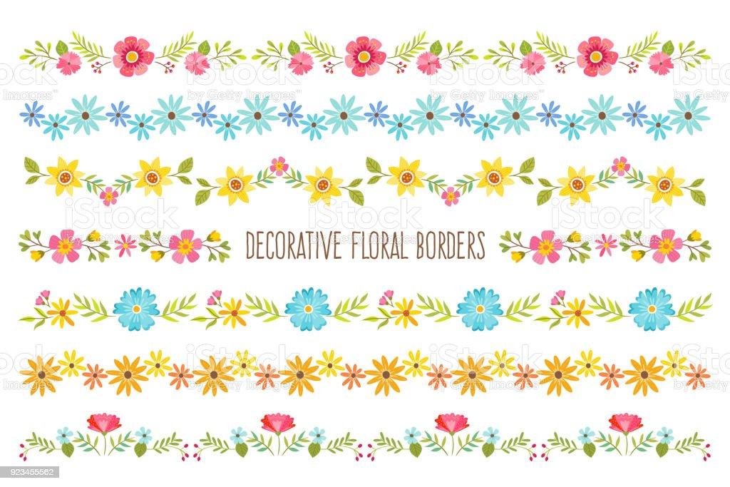 Dekorative Blumen Grenzen – Vektorgrafik