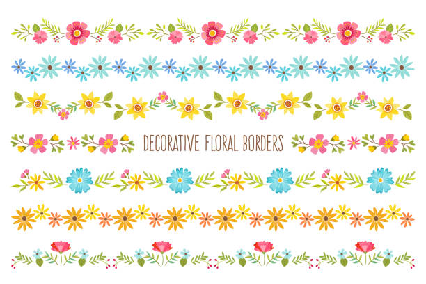 decorative floral borders - floral borders stock illustrations, clip art, cartoons, & icons