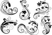 Six swirling flourishes in vector format. Please check my other sets of similar design elements: