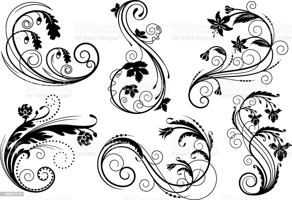 Decorative floral elements vector art illustration