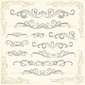 Decorative floral patterns on an invitation