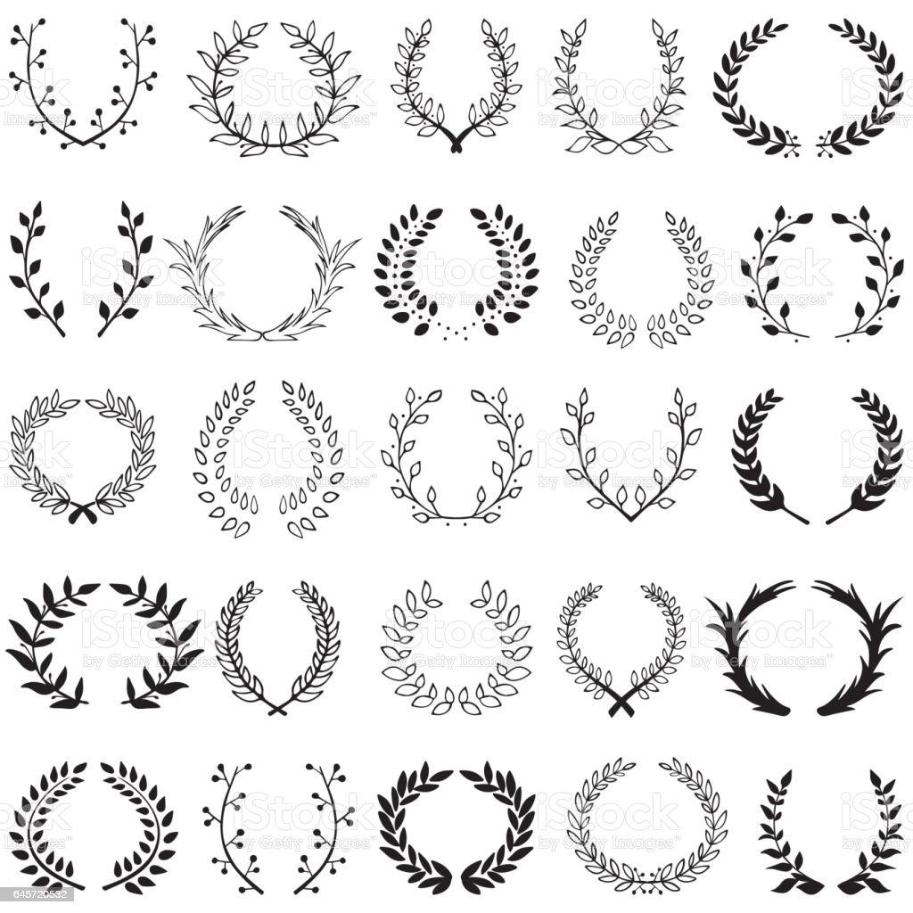 decorative floral set of 25 wreaths vector art illustration