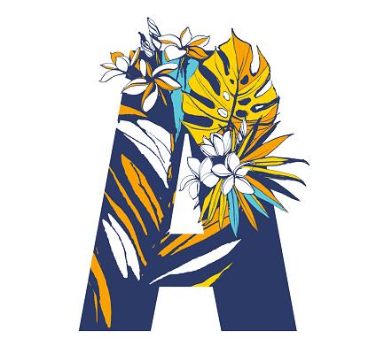 Decorative Letter A.Decorative Floral Tropical Tropic Pattern Lettering Logo