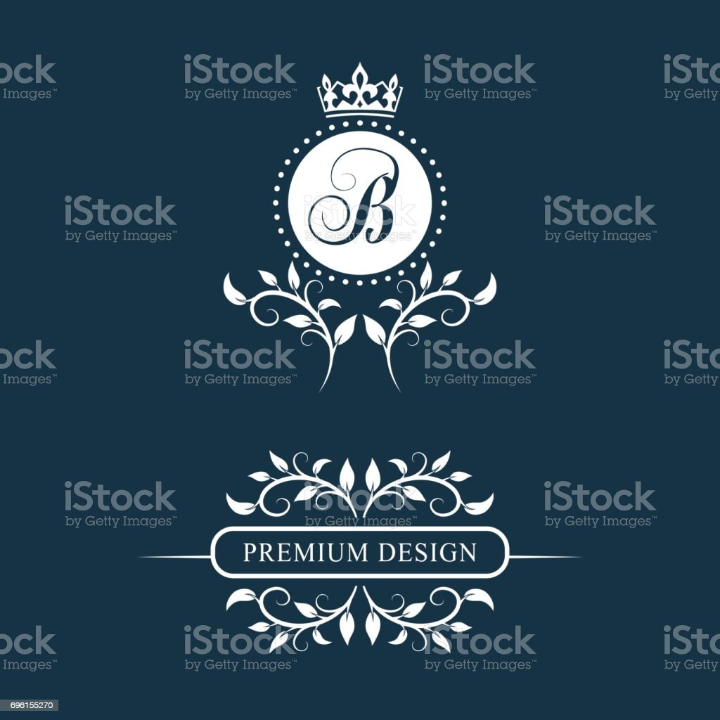 decorative floral vintage monogram set of calligraphic templates emblem sign design page