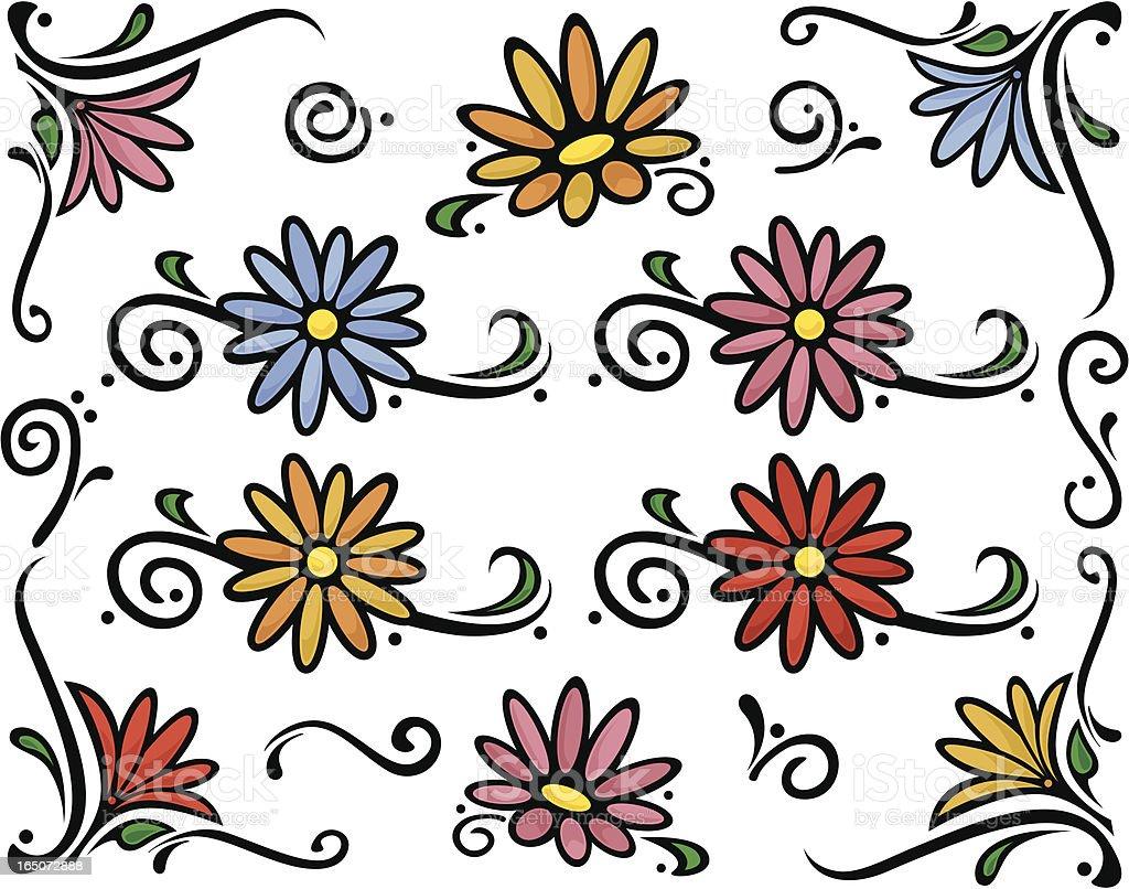 Decorative florals with swirls vector art illustration