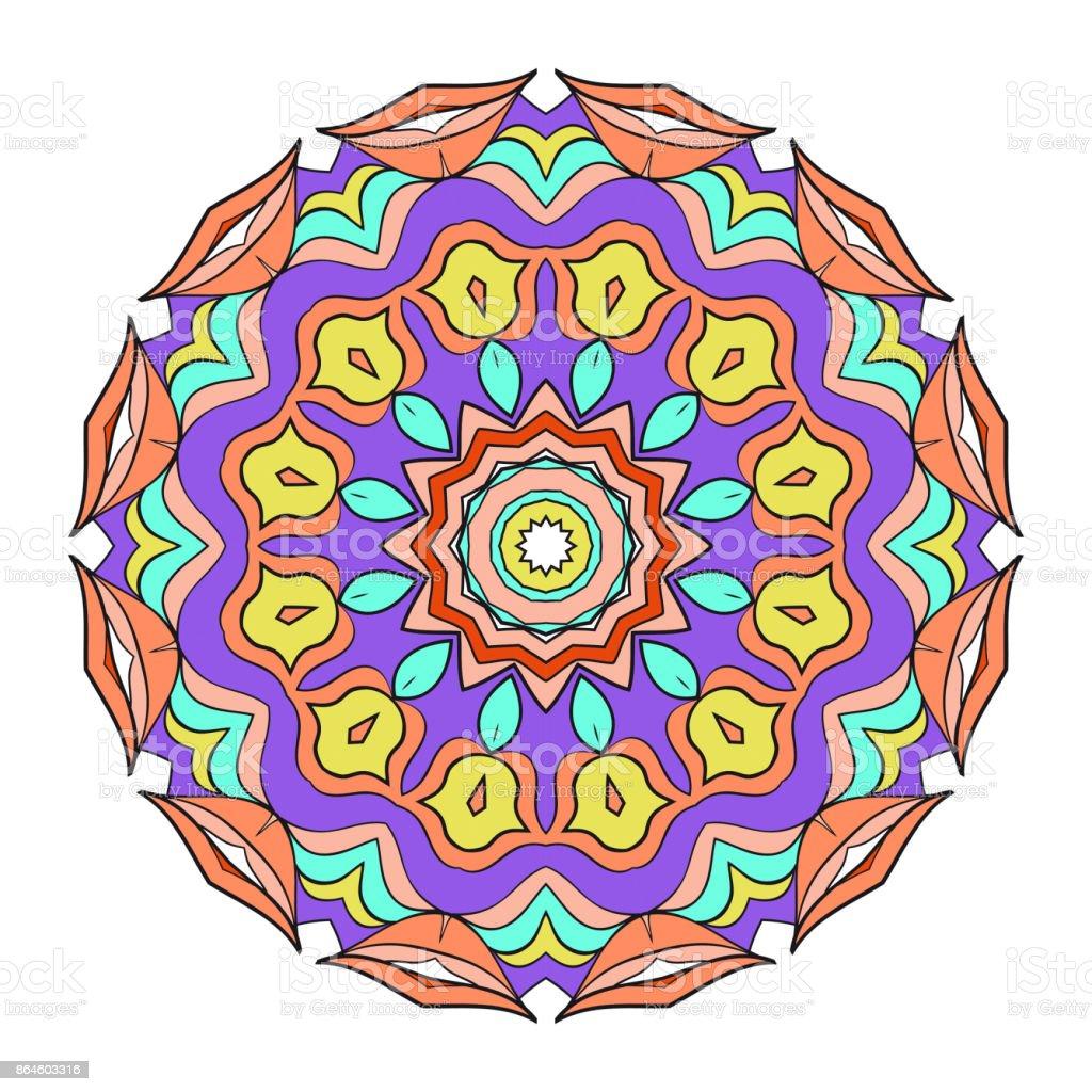 Ilustración De Mandala Para Colorear De Flores Decorativas