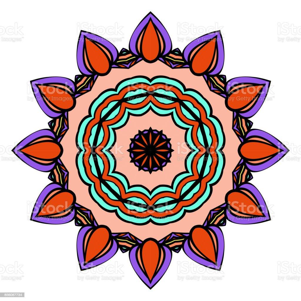 Dekoratif çiçek Mandala Soyut Vektör çizim Siyah Beyaz Boyama Kitap