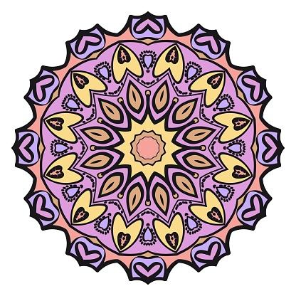 장식 꽃 만다라 디자인입니다 벡터 패턴 라운드 착 색 인사말 카드 초대장 문신 디자인입니다 디자인에 대한 스톡 벡터 아트 및 기타 이미지
